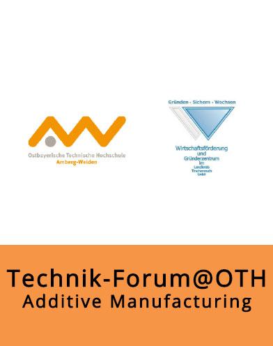 """Bild im Bereich Presse für die Veranstaltung """"Technik-Forum@OTH"""". Der Name der Veranstaltung ins zu lesen und die Logos der OTH Amberg-Weiden und des Gründerzentrums Waldsassen"""