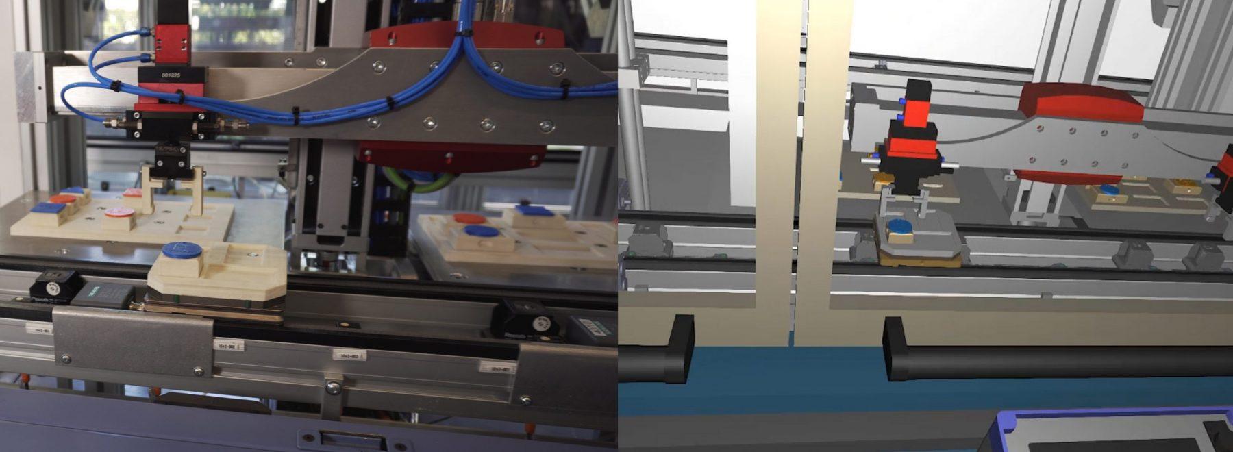 Das Bild zeigt die Nachbildung einer Fertiungsanlage in einem Computerprogramm. Dies ist Teil des Bereiches Simulation / Industrie 4.0.